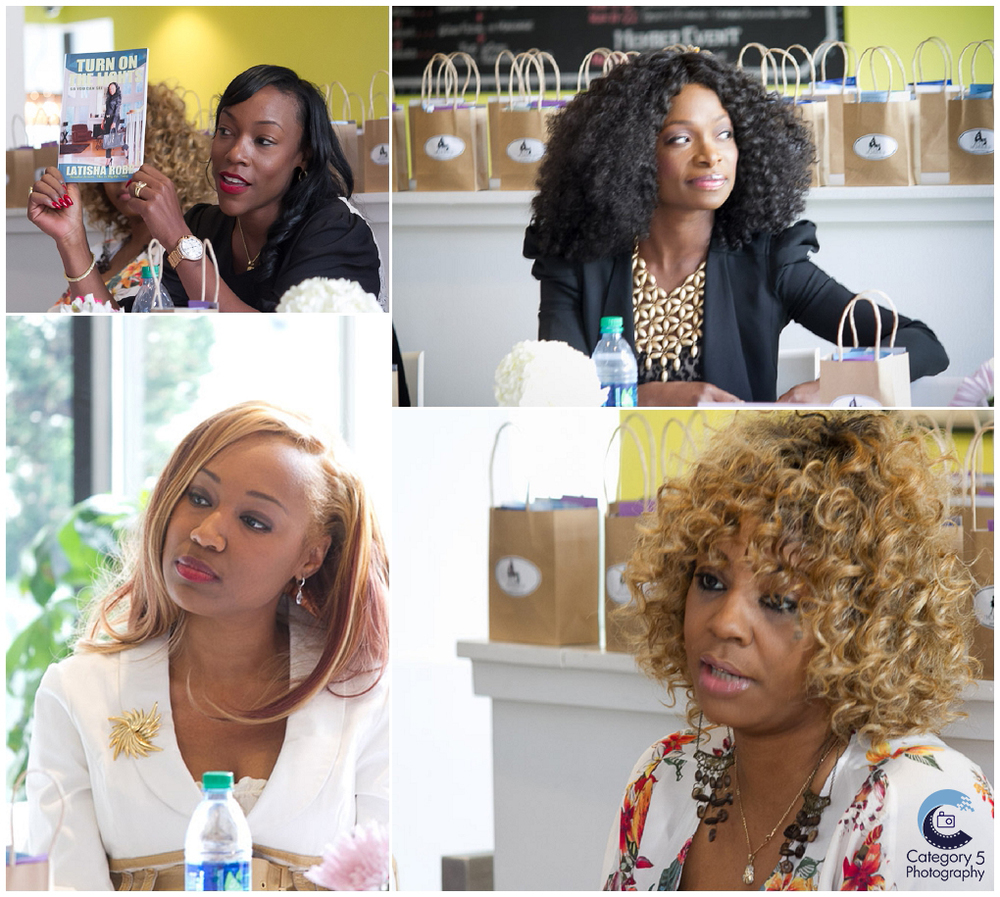 Clockwise from top left, panelists Realtor, Latisha Robb, Uyo Okebie-Eichelberger founder of You! Lingerie, Music executive Mauricia Keels, and A. Lenise, founder and editorial director of Kouture brand magazines.