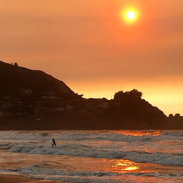 Surfing under a fire storm sun this evening in #pacifica #surfpacifica #surfingmagazine #surfphotography #surfing #surfer