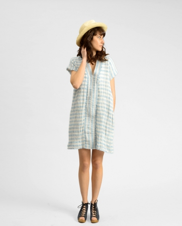 Horses Smoking Dress Stripe Cotton Linen Original Price= $495.00 Final Sale Price= $249.00