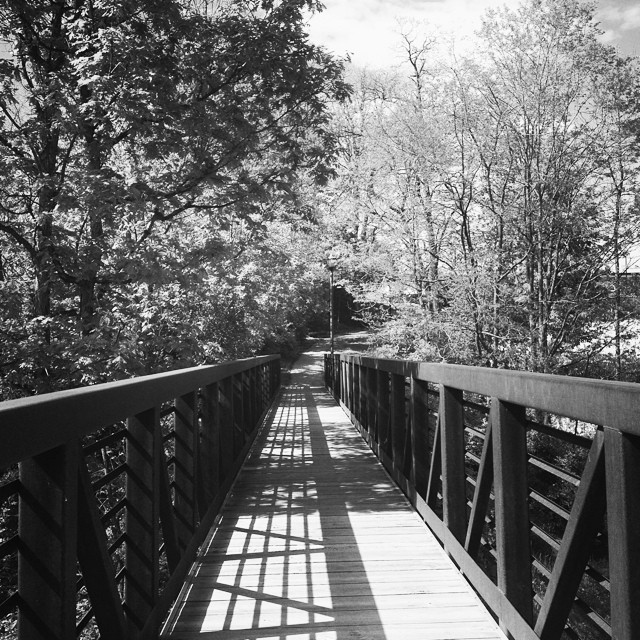 The intersection of nature and architecture #beautiful #bridge #shadow #inkwell #vermont