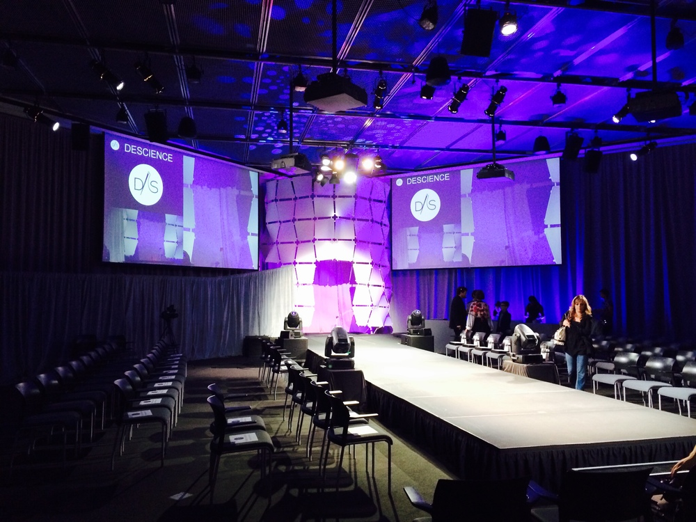 Runway before the show at the MIT Media Lab