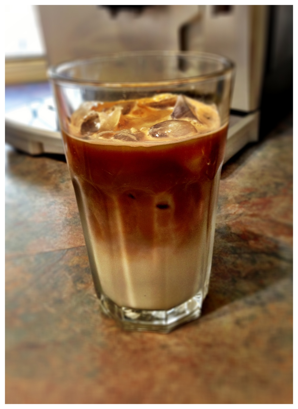 Iced Coffee Latte With Espresso Shot Adding Stock Photo - Image ...