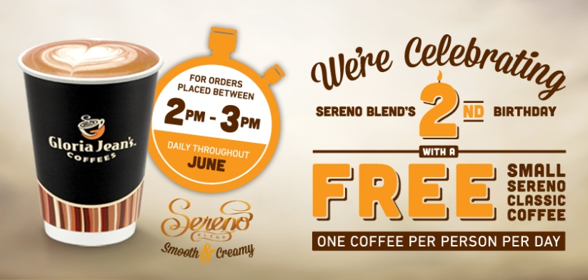 Gloria Jean's Coffees Sereno Blend Promotion