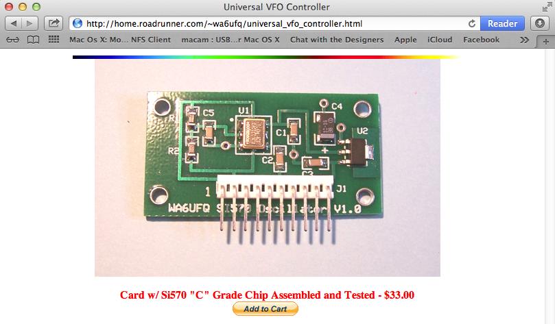 WA6UVQ si570 controller card