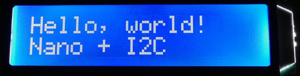 Arduino nano i2c lcd hello world