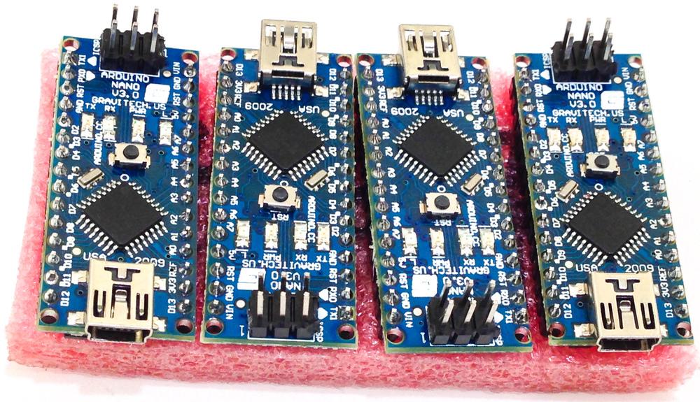 iPhone photo - four Arduino Nanos