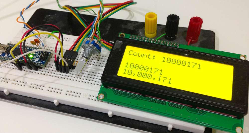 Debugging the format of the frequency display.  Nano + I2C 20x4 LCD + encoder