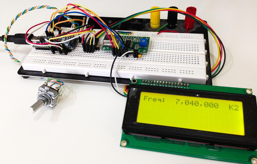 Arduino Nano + I2C 20x4 LCD + rotary encoder + AD9851