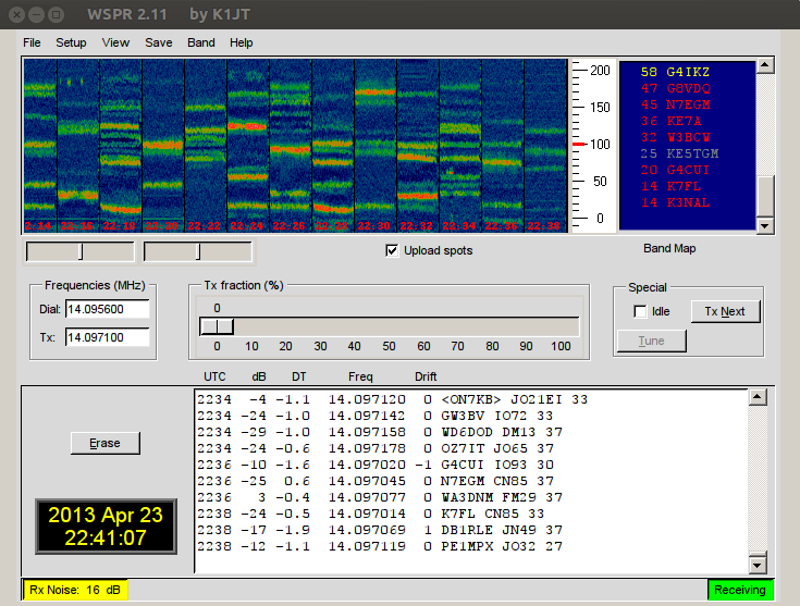 20m WSRP received on an Icom756 + Ubuntu 12.04