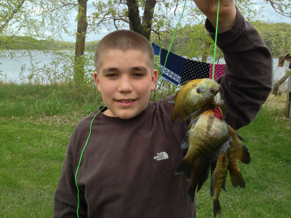 Ben (12) and his friend Ryan caught enough fish for a couple of meals or snacks per day. (Mainly pan fish and a couple of northern-pike from the fishing dock.)
