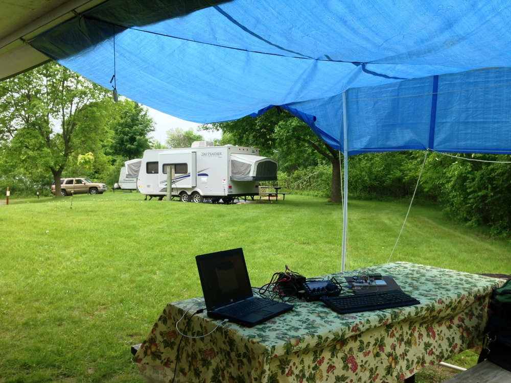 It turned out to be nice afternoon to debug hardware and software under the tarp.