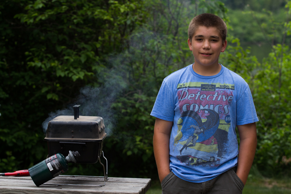 Ben managing the grill