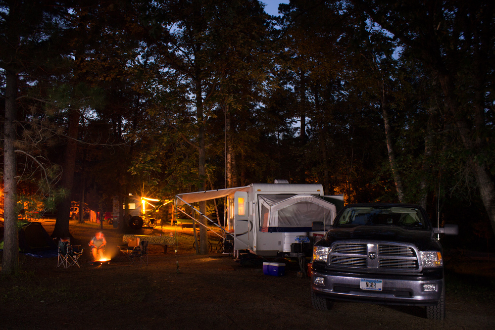 Night time shot of the campsite. (Extended exposure and painted with a flashlight)