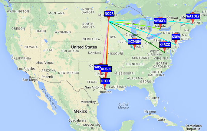 A few minutes of listening to WSPR on 40m