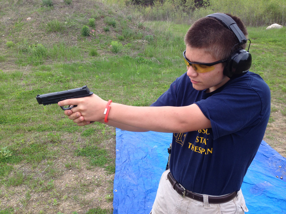 Ben (14) shooting a M&P 45 ACP