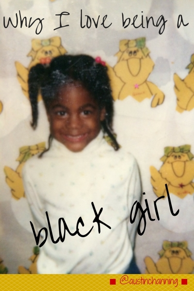 Austin Channing Brown as a little girl. Text: Why I love being a black girl; @austinchanning