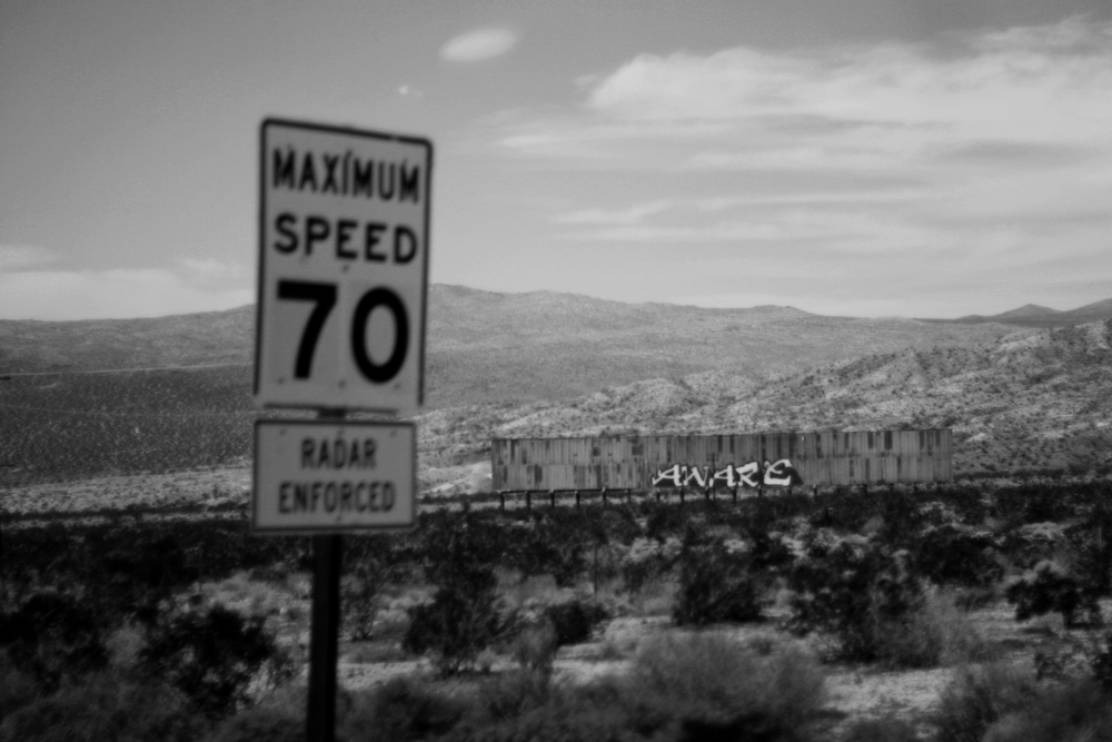 Grafitti and signs in Nevada, California Black and white