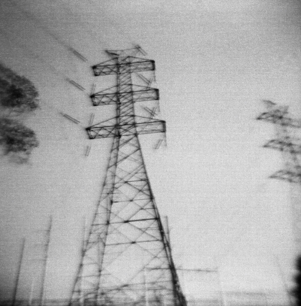 Powerlines in an industrial area Shot on 120mm black and white film