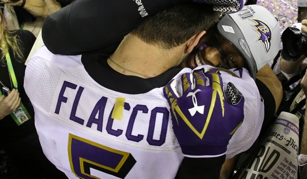 JOE FLACCO & RAY LEWIS , BALTIMORE RAVENS  (AP)