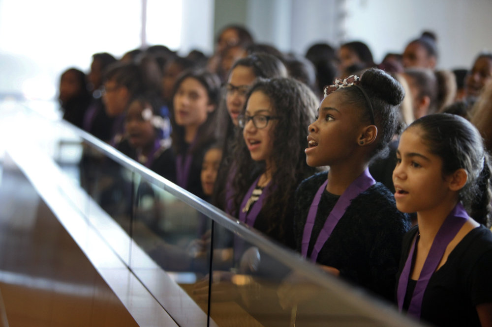 The girls start their 4-stop tour at the National Museum of American Jewish History in 2014.