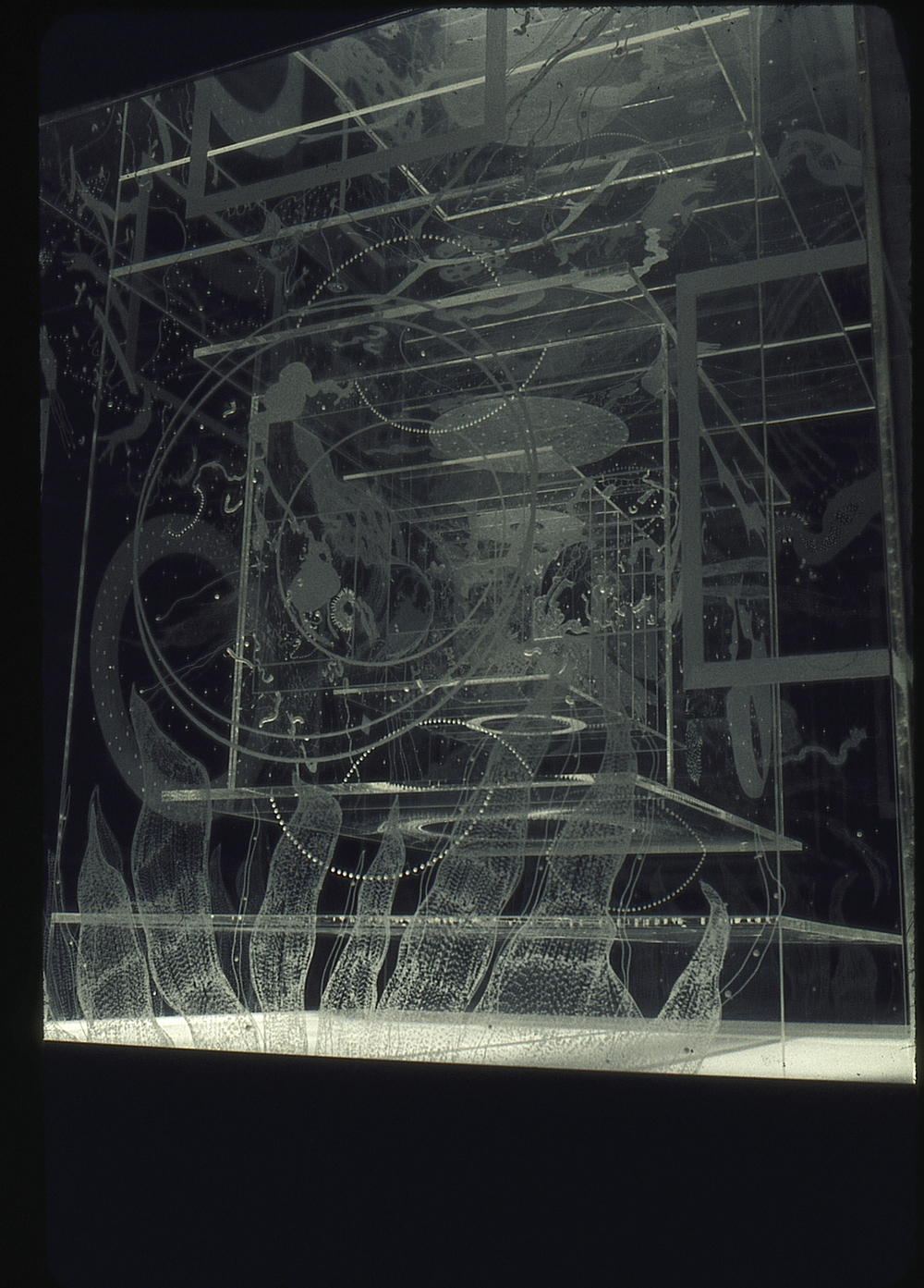 """Worlds within worlds: Anti-worlds,"" 1985 Engraved, lighted 3-drawing assemblage 8' x 4' x 4' plexiglas and glass"