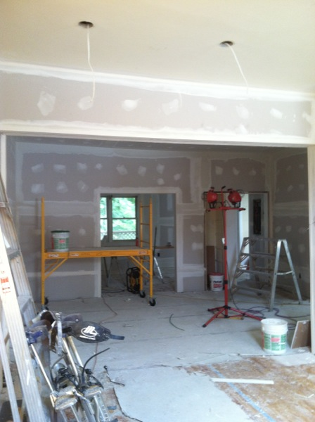 Looking into the space from the front through to the kitchen.
