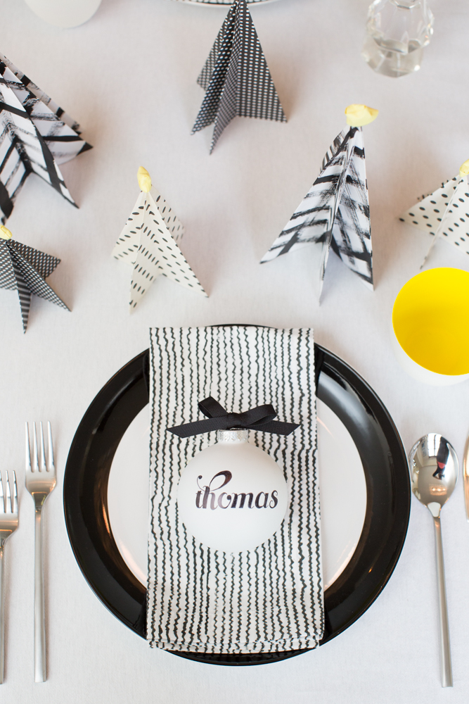 hanaluluco, charliejuliet, holiday tablescape inspiration, black and white, bold, graphic, neon yellow