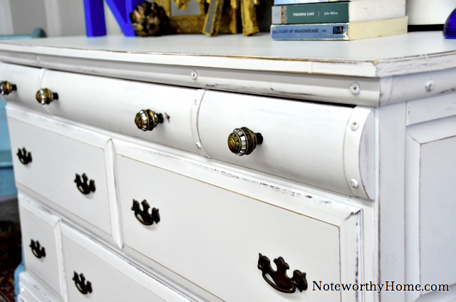 White Dresser with Custom Hardware