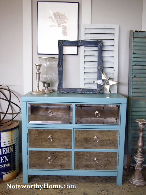 Mirrored Turquoise Chest