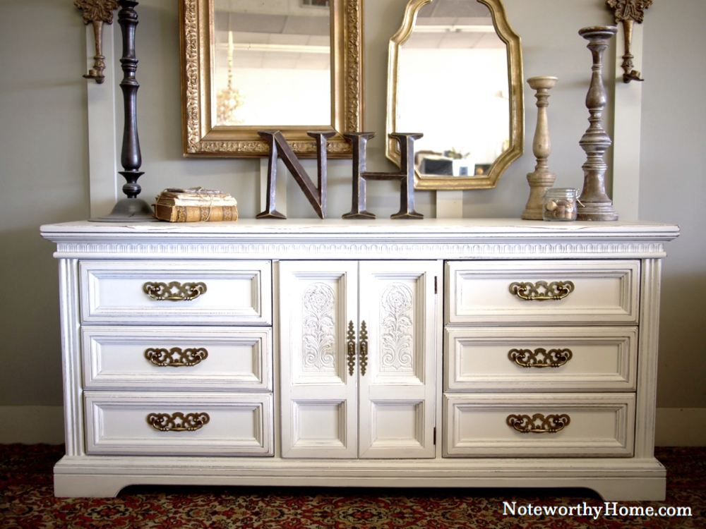 Carved White Dresser