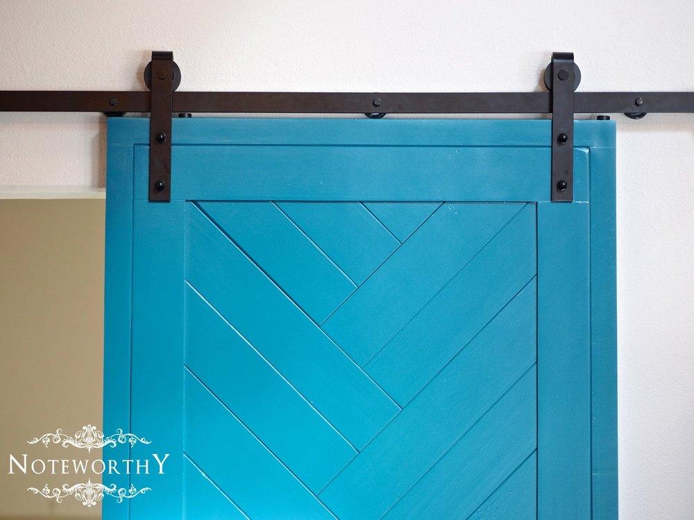 Blue Herringbone Barn Door