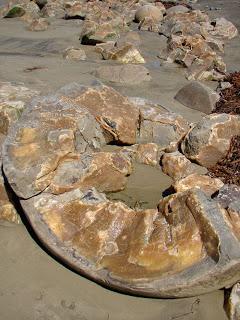 There interior of a partially broken boulder