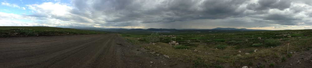 This is a view of the Haul road leading back to the Toolik Field station (to the right in the picture). The storms are just moving in over Toolik.