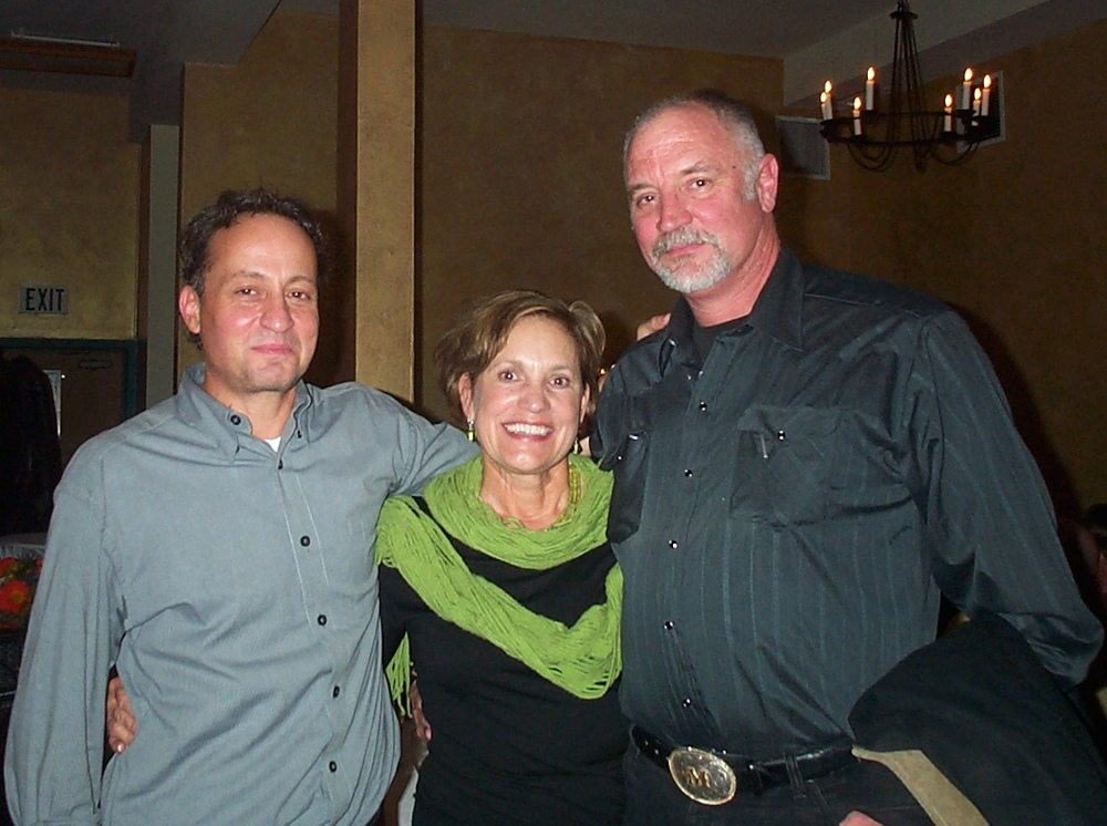 Mark Agnew (right) with Clarence Foundation board members Bob Falsetti and Sally Jones at a 10th wedding anniversary celebration for my wife Kelly and I.
