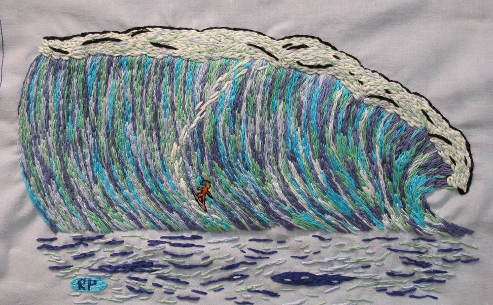 "Big Wave Riding Through Winter   embroidery on fabric  11""x18""  2014"