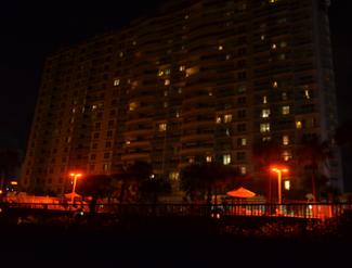 Resort lighting after resort has been retrofit with sea turtle friendly lighting. Credit: Karen Shudes.