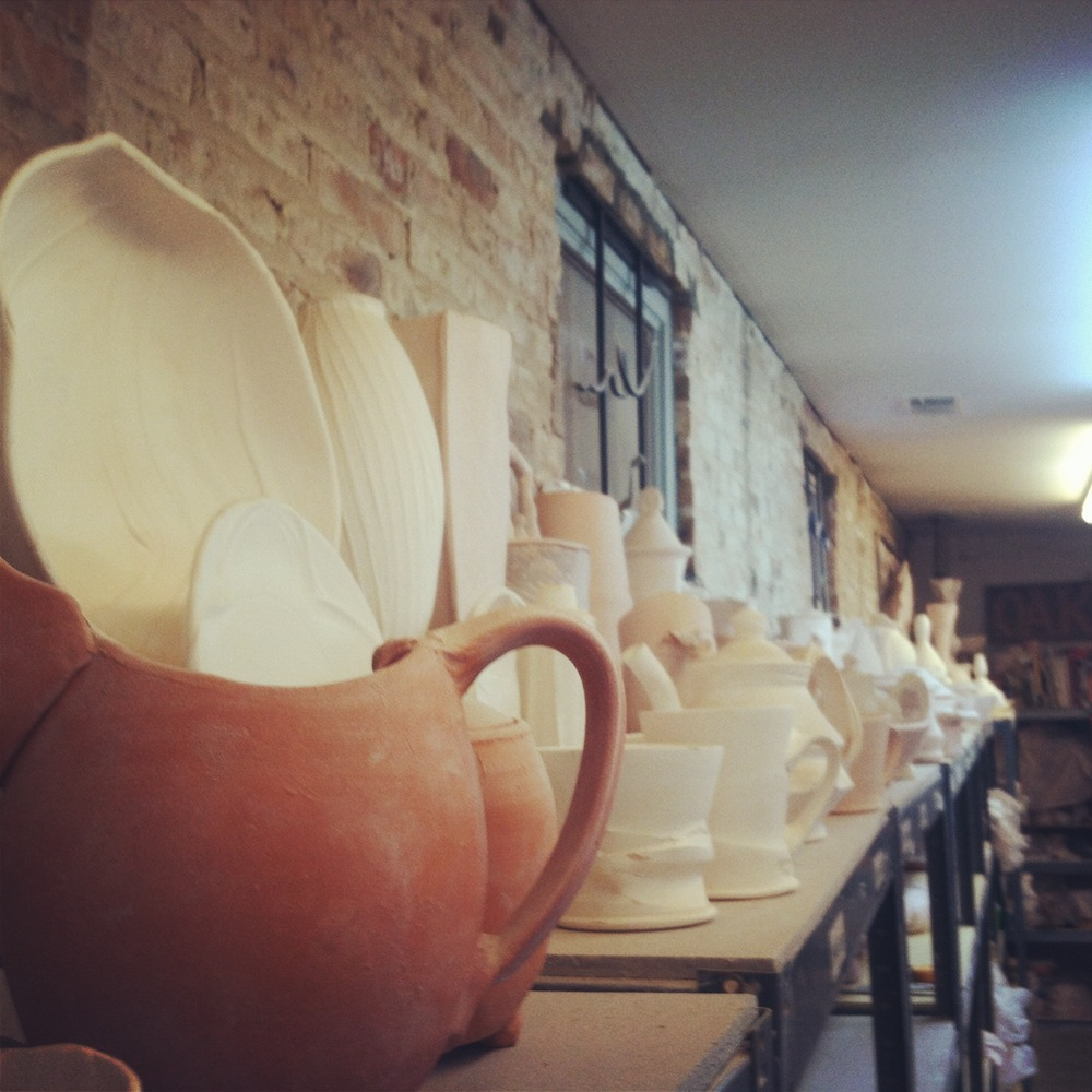 "The ""Boneyard"" at Terra.  A nice collection of bisque ware from visiting artists over the years."