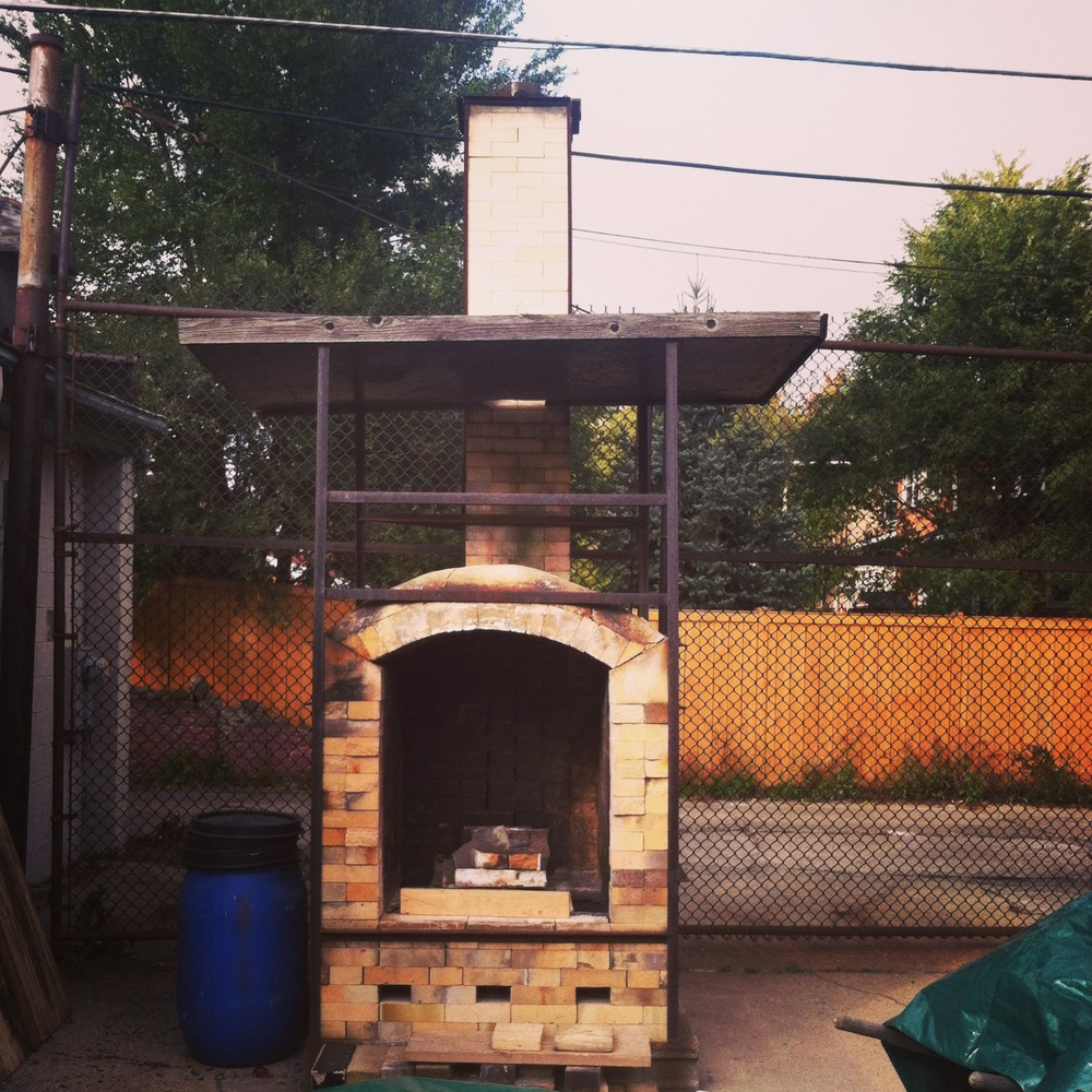 Our little wood kiln in the back yard.