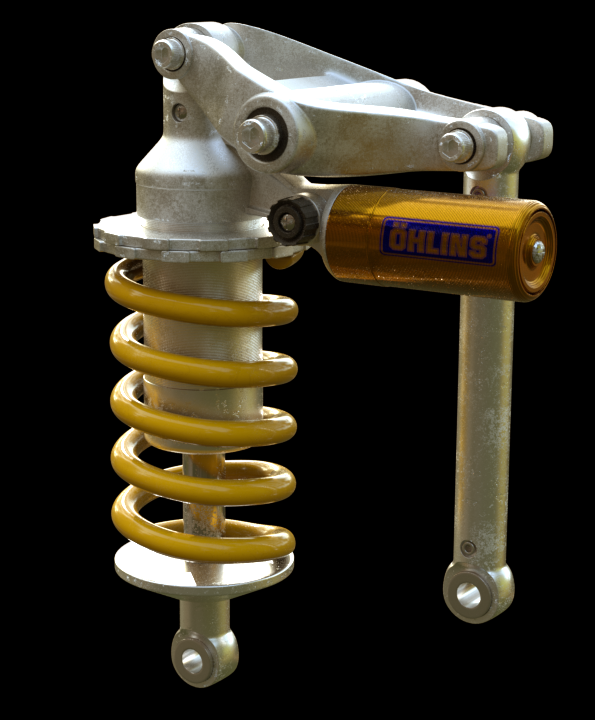Current render of the Rear Suspension assembly for my current Motorcycle Design project. All textures are procedural, aside from the 'Ohlins' logo.