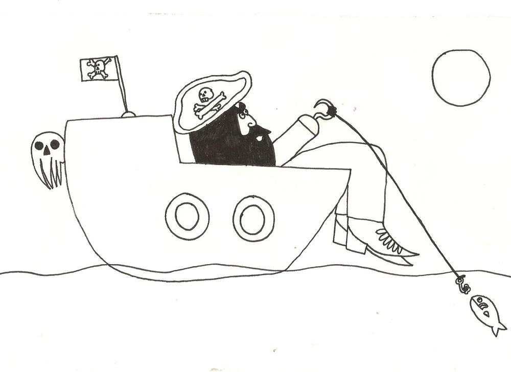 Cyril made this coloring page for his Pirate Day friends.