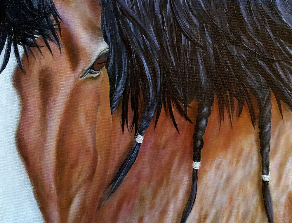 Horse Oil Over Acrylic on Canvas Painting
