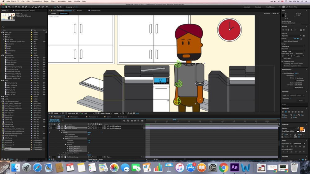 Preparing a character for animation: Adding pins (yellow dots) to where the joints would be (hand, elbow, shoulder)