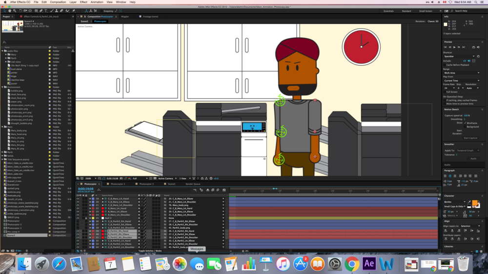 Preparing a character for animation: Creating bones (red square) at where the pins are.