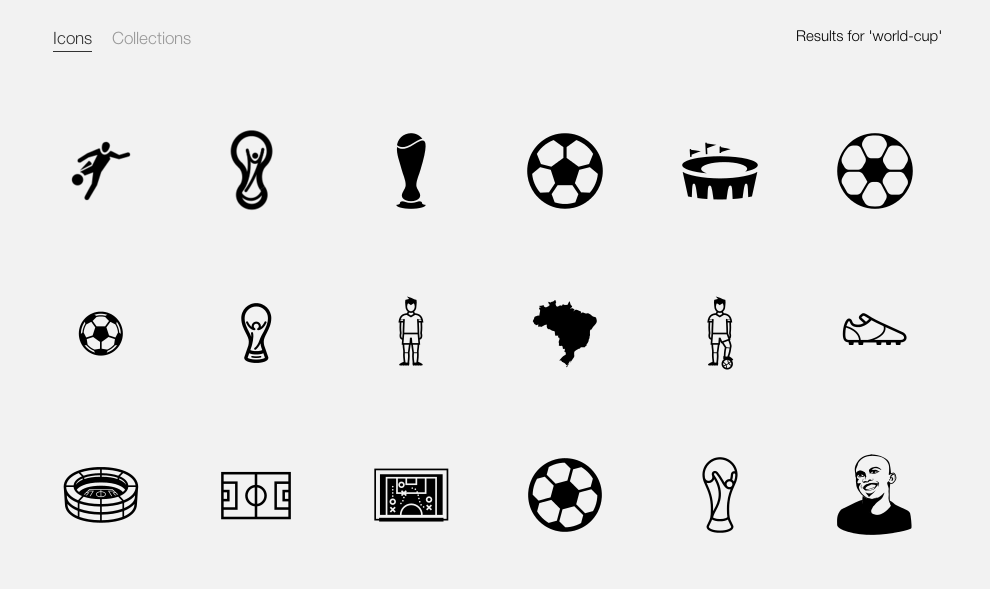 A search for flat icons around the World Cup on the Noun Project.