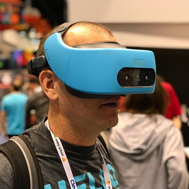 "Here's @brianbriggs1 trying out  HTC Vive Focus at #iste18. ""I have a big head."" - was a direct quote. #vr"
