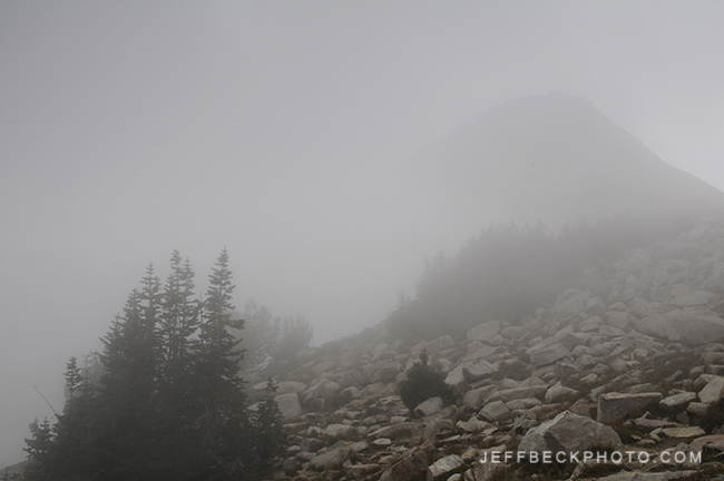 The Pfeifferhorn Looms in the Distance as Fog Envelops the Scene, Lone Peak Wilderness, Utah