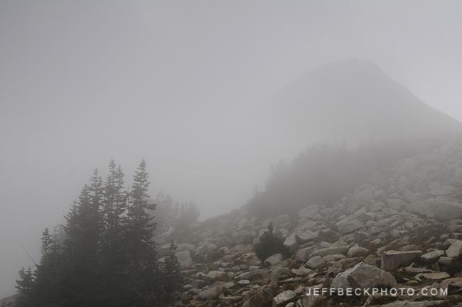 The Pfeifferhorn Looms in the Distance as Fog Envelops the Scene, Lone Peak Wilderness, Utah