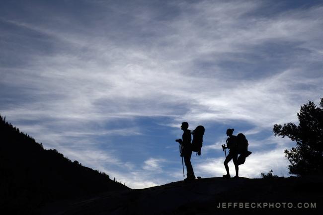 Backpackers at Lake Blanche, Twin Peaks Wilderness, Utah
