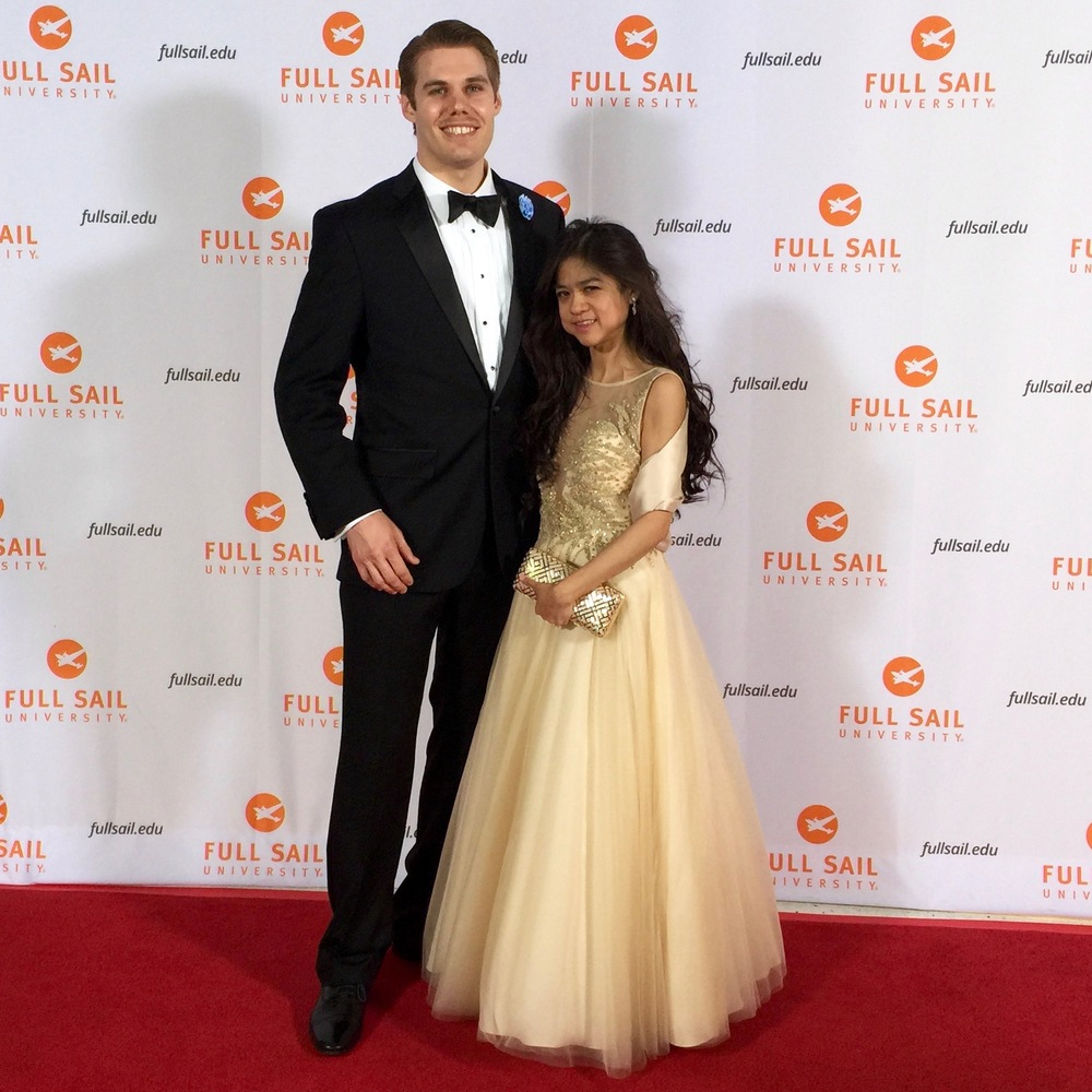 Sunset Studios President, Ryan Cimino and wife and EVP Cristina Cimino walk the red carpet for the Full Sail Oscars.