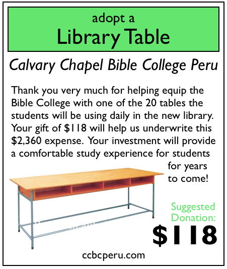1 of 20 library tables adopted. Only 19 to go!